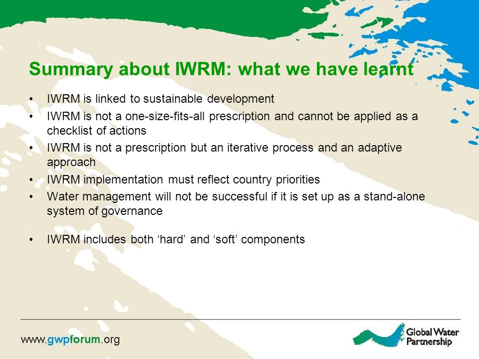 Summary about IWRM: what we have learnt