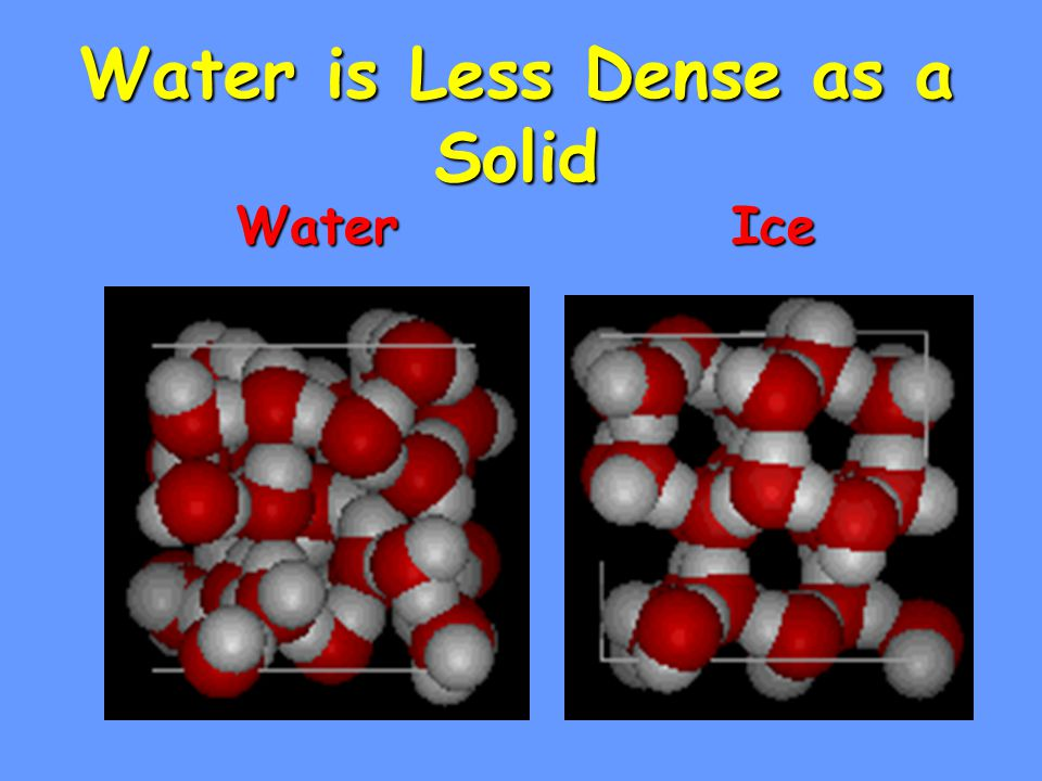 Water is Less Dense as a Solid