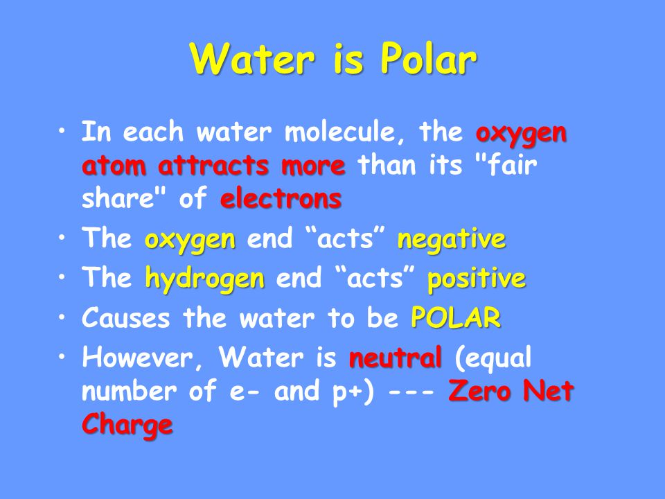 Water is Polar In each water molecule, the oxygen atom attracts more than its fair share of electrons.