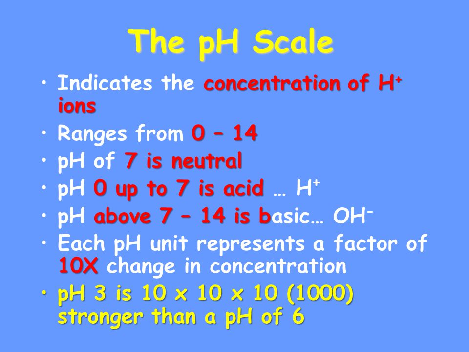 The pH Scale Indicates the concentration of H+ ions Ranges from 0 – 14