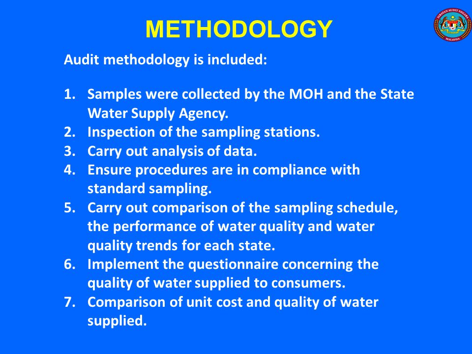 METHODOLOGY Audit methodology is included: