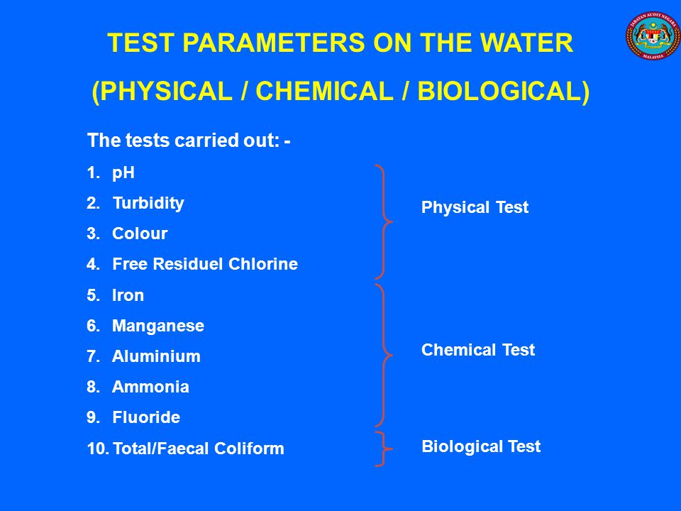 TEST PARAMETERS ON THE WATER (PHYSICAL / CHEMICAL / BIOLOGICAL)