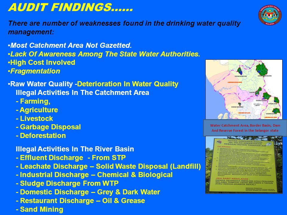AUDIT FINDINGS…… Water Treatment Plant