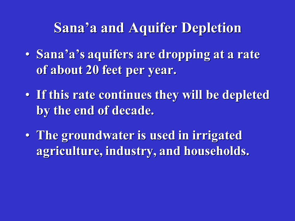 Sana'a and Aquifer Depletion