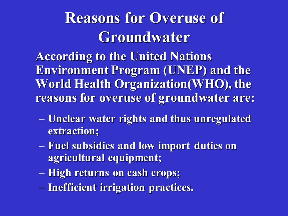 Reasons for Overuse of Groundwater