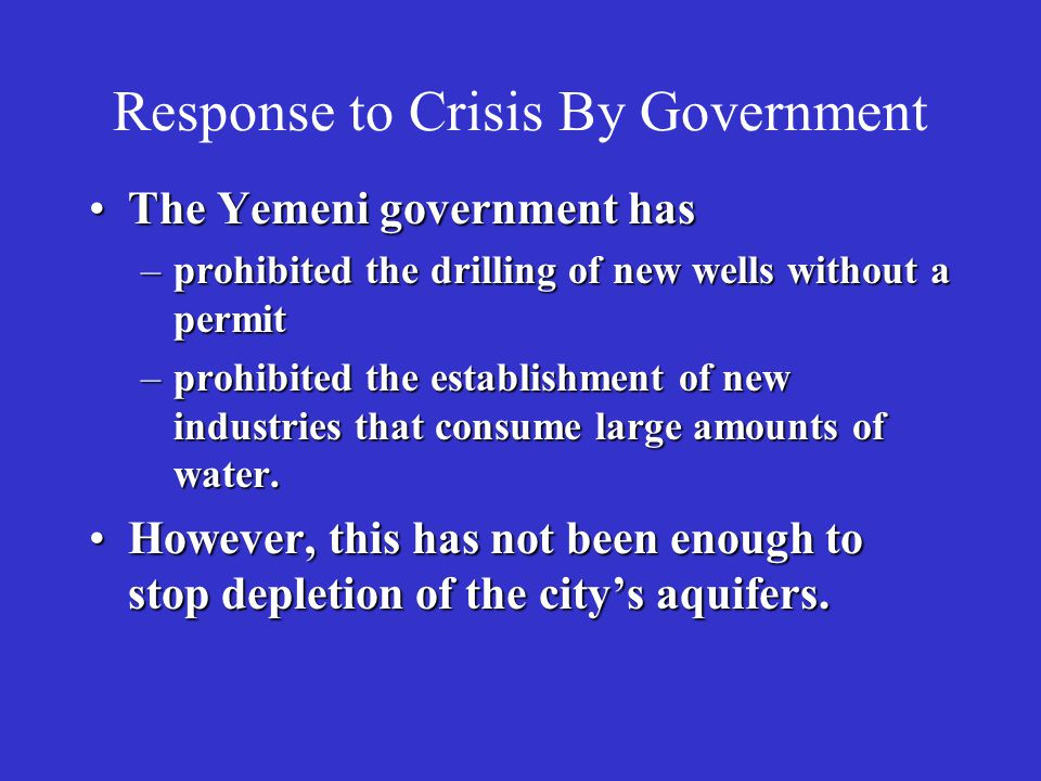 Response to Crisis By Government