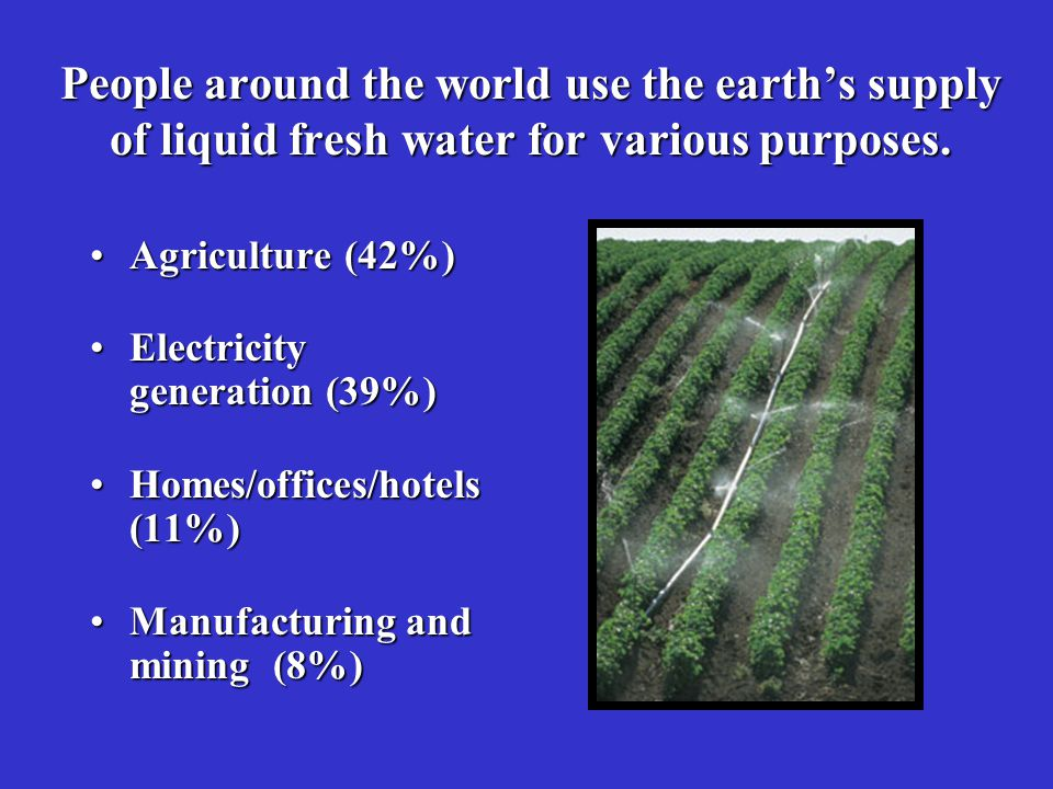 People around the world use the earth's supply of liquid fresh water for various purposes.