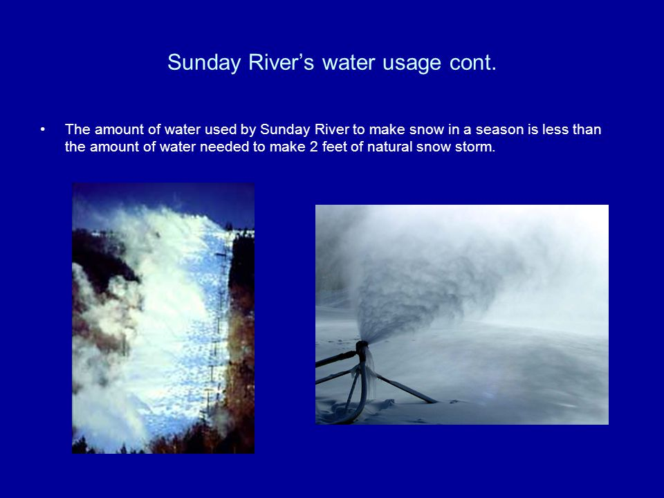 Sunday River's water usage cont.