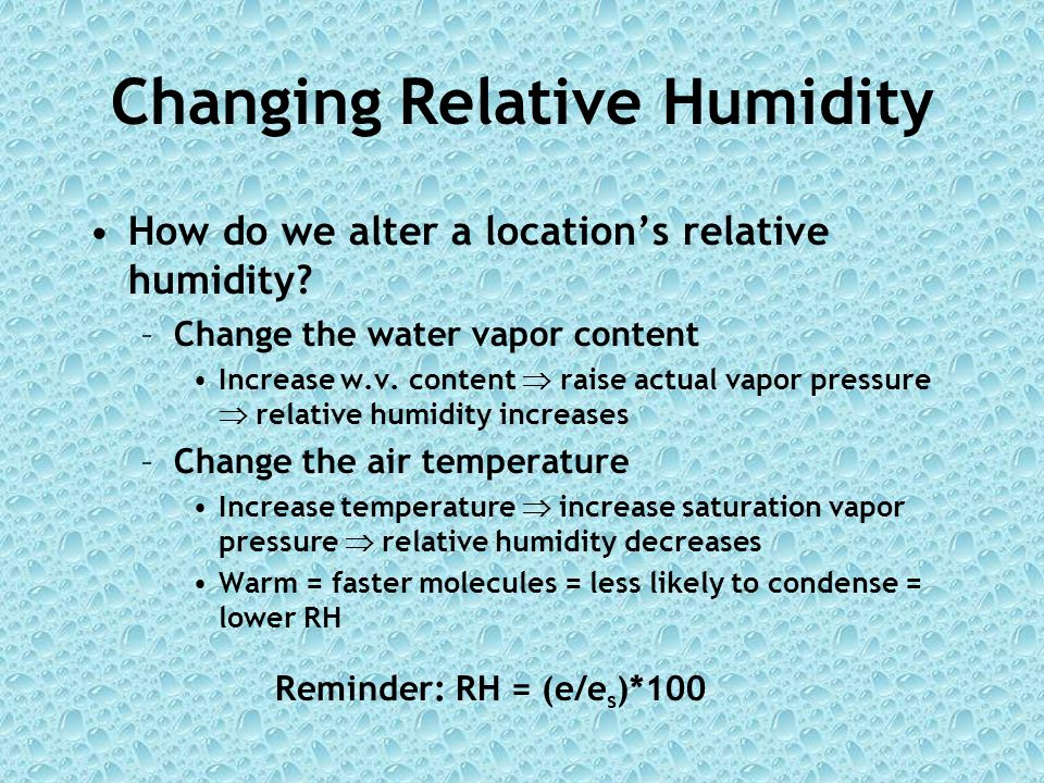 Changing Relative Humidity