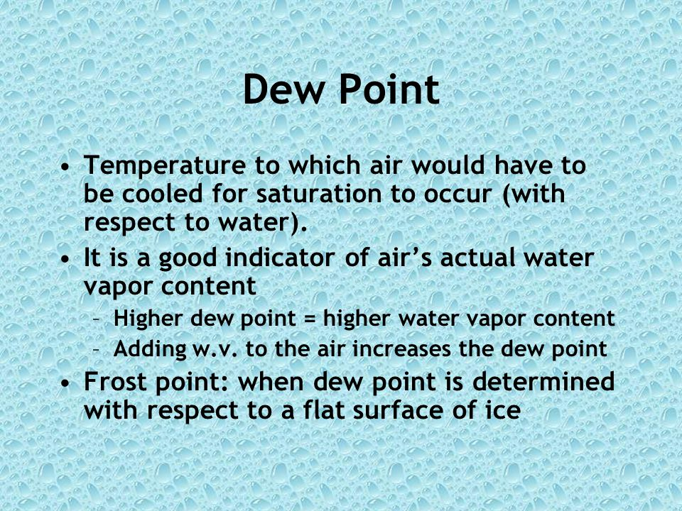 Dew Point Temperature to which air would have to be cooled for saturation to occur (with respect to water).