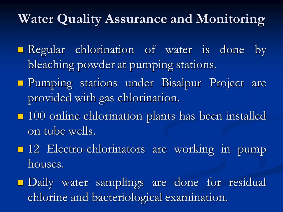Water Quality Assurance and Monitoring