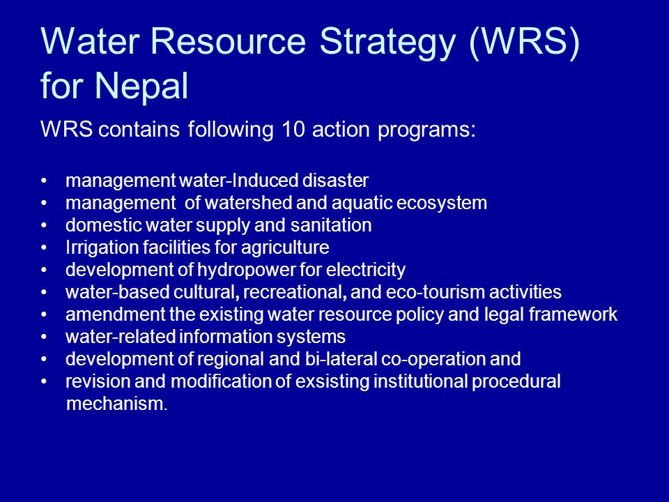 Water Resource Strategy (WRS) for Nepal