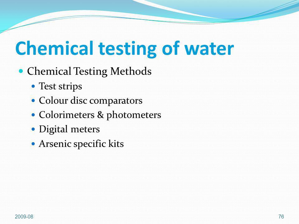 Chemical testing of water