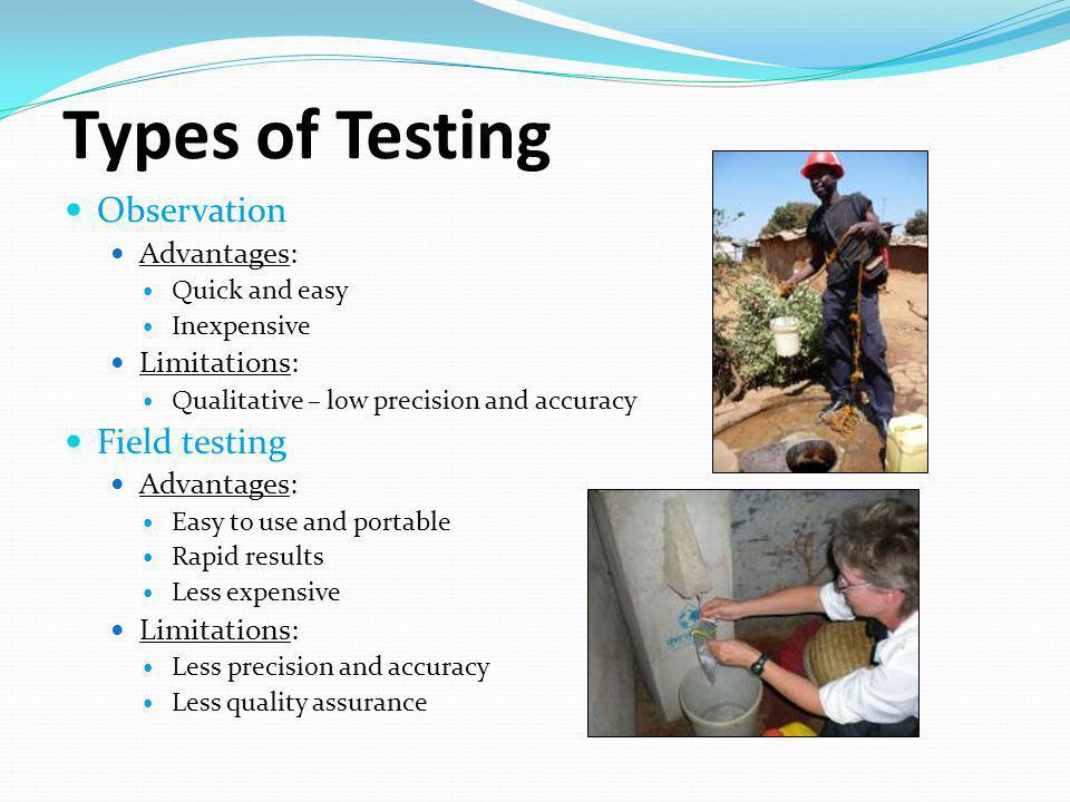 Types of Testing Observation Field testing Advantages: Limitations: