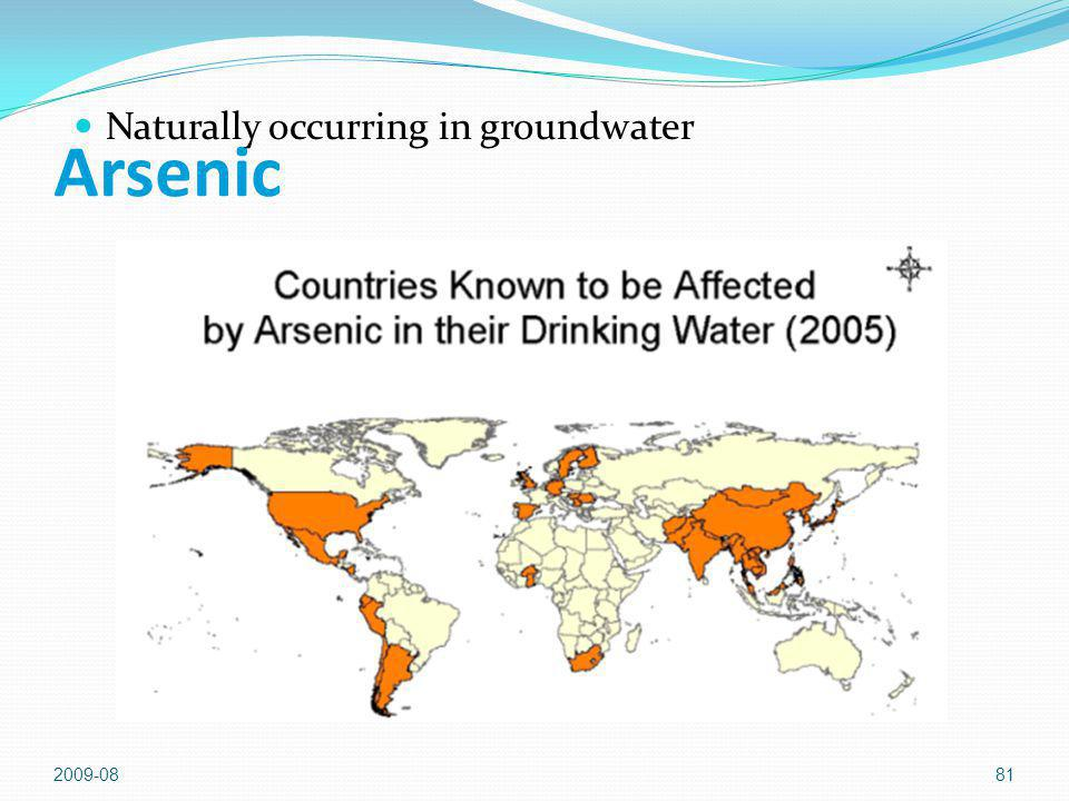 Arsenic Naturally occurring in groundwater 2009-08