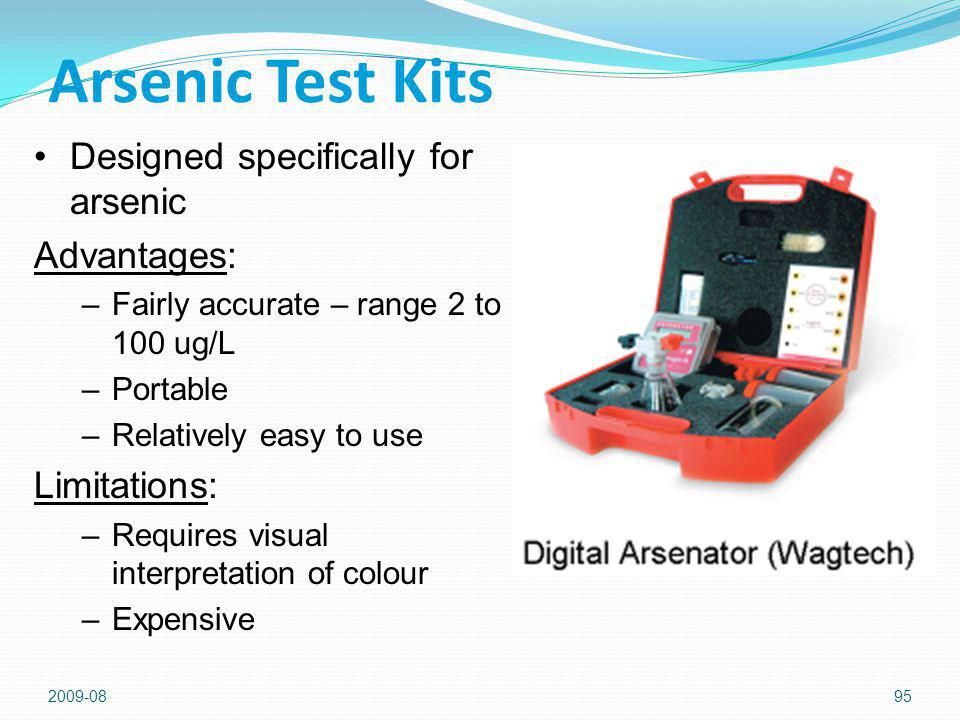Arsenic Test Kits Designed specifically for arsenic Advantages: