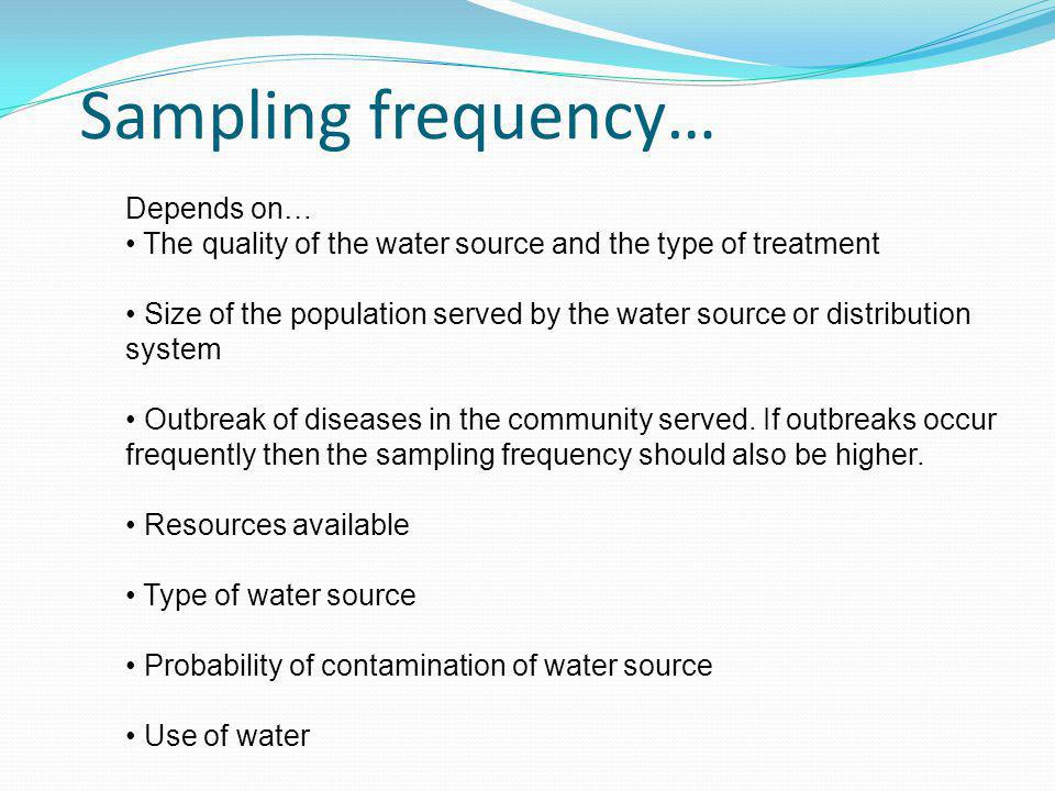 Sampling frequency… Depends on…