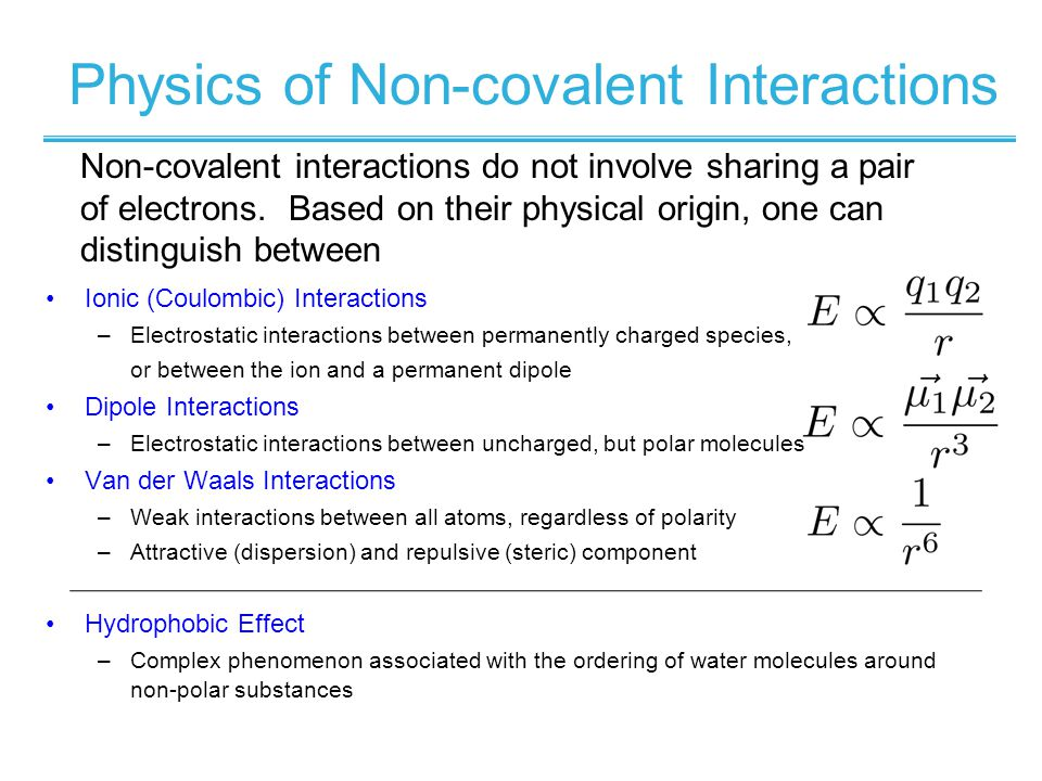 Physics of Non-covalent Interactions