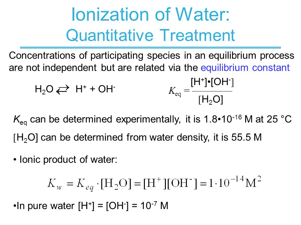 Ionization of Water: Quantitative Treatment