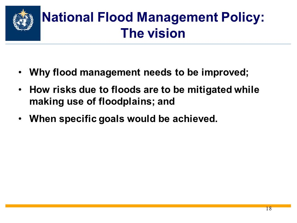 National Flood Management Policy: The vision