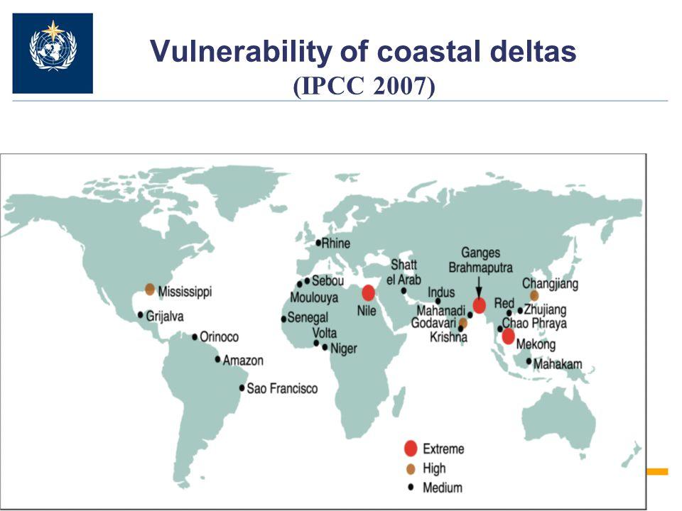 Vulnerability of coastal deltas (IPCC 2007)