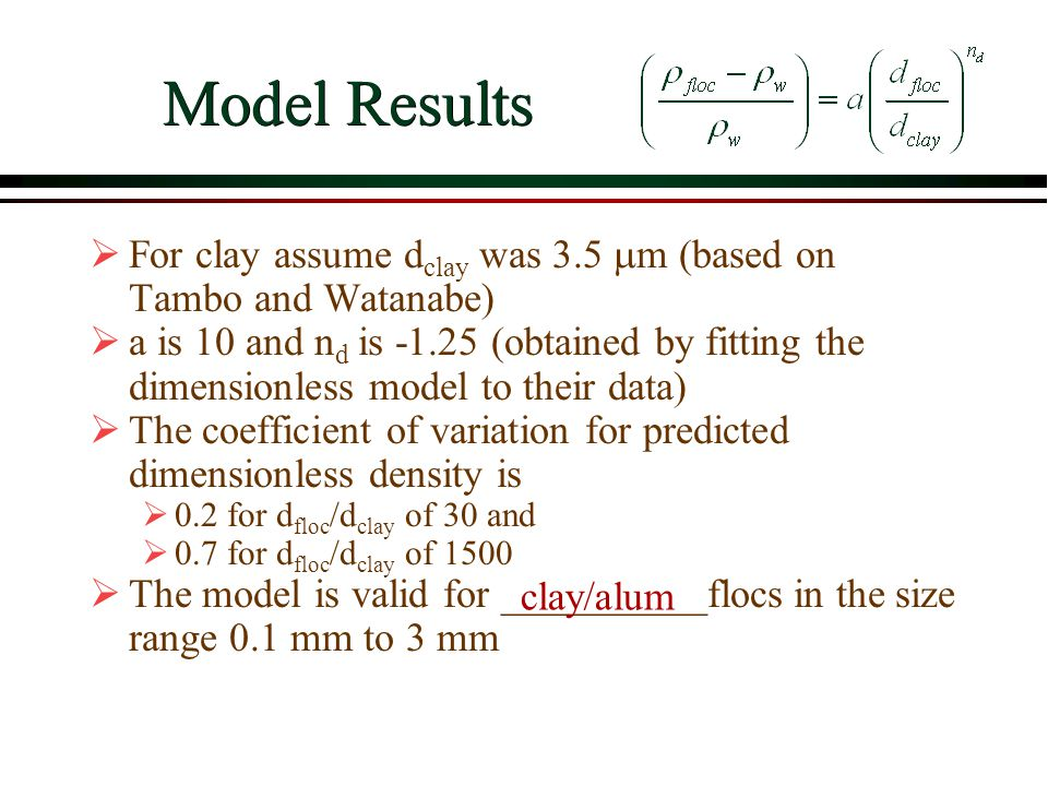 Model Results For clay assume dclay was 3.5 mm (based on Tambo and Watanabe)