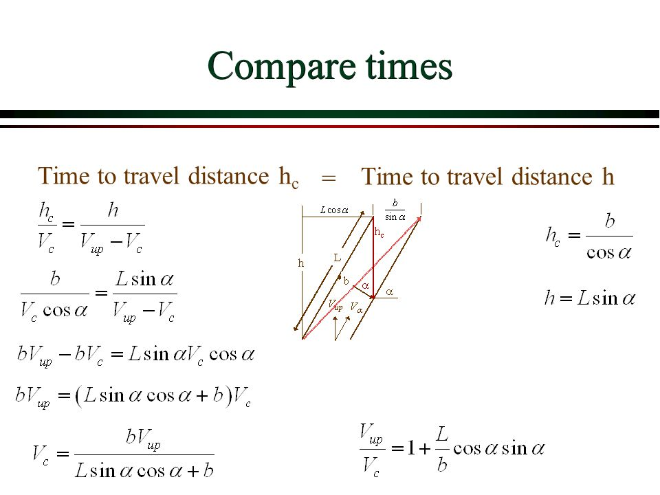 Compare times Time to travel distance hc = Time to travel distance h