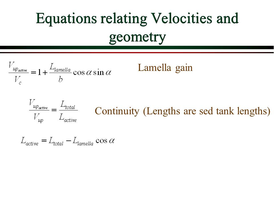Equations relating Velocities and geometry