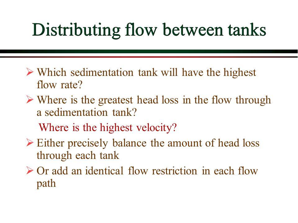 Distributing flow between tanks