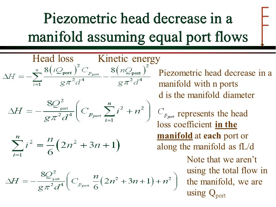 Piezometric head decrease in a manifold assuming equal port flows