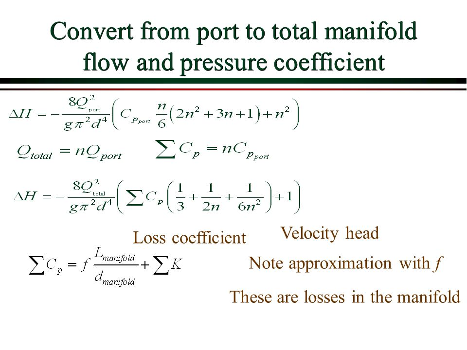 Convert from port to total manifold flow and pressure coefficient