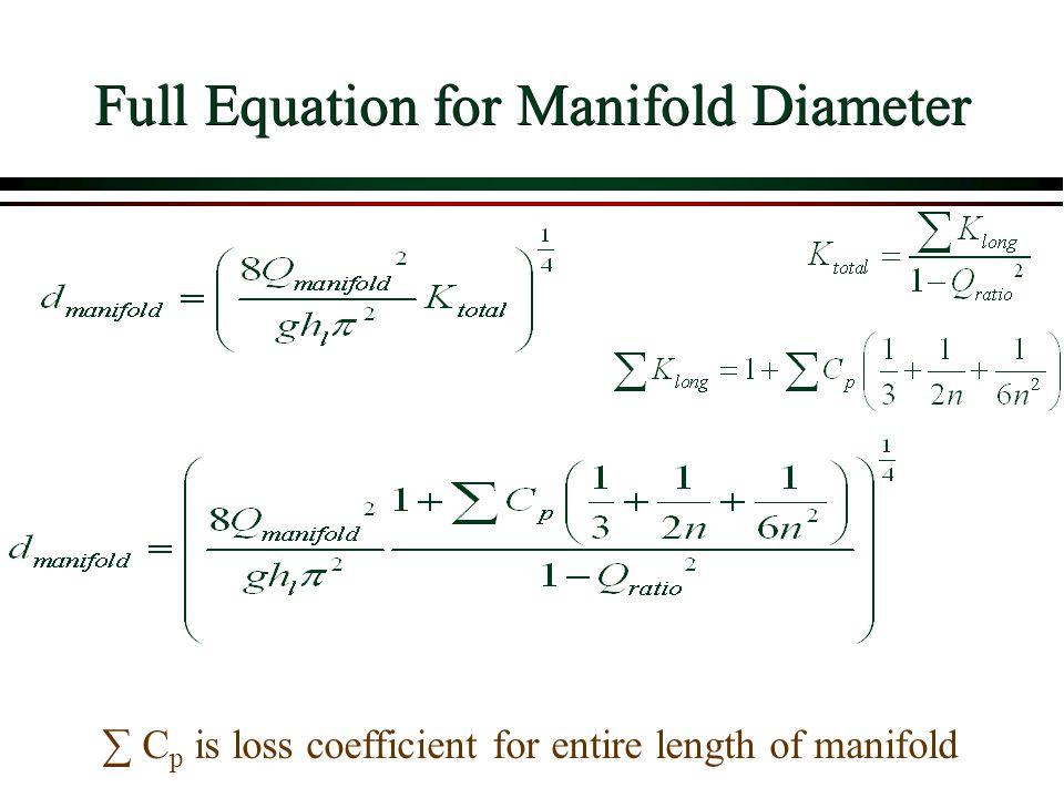 Full Equation for Manifold Diameter