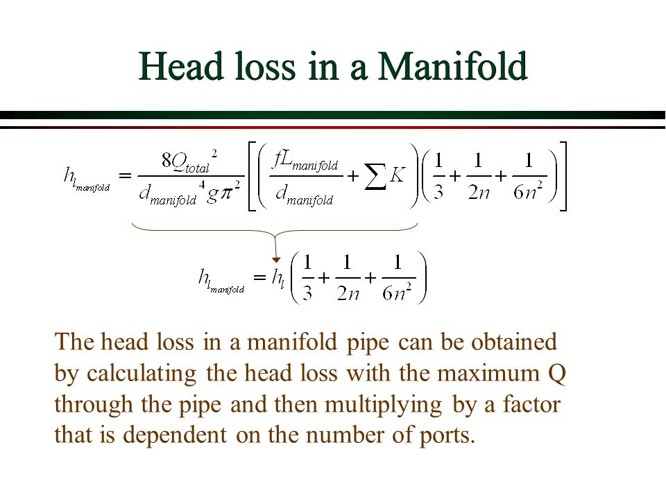 Head loss in a Manifold