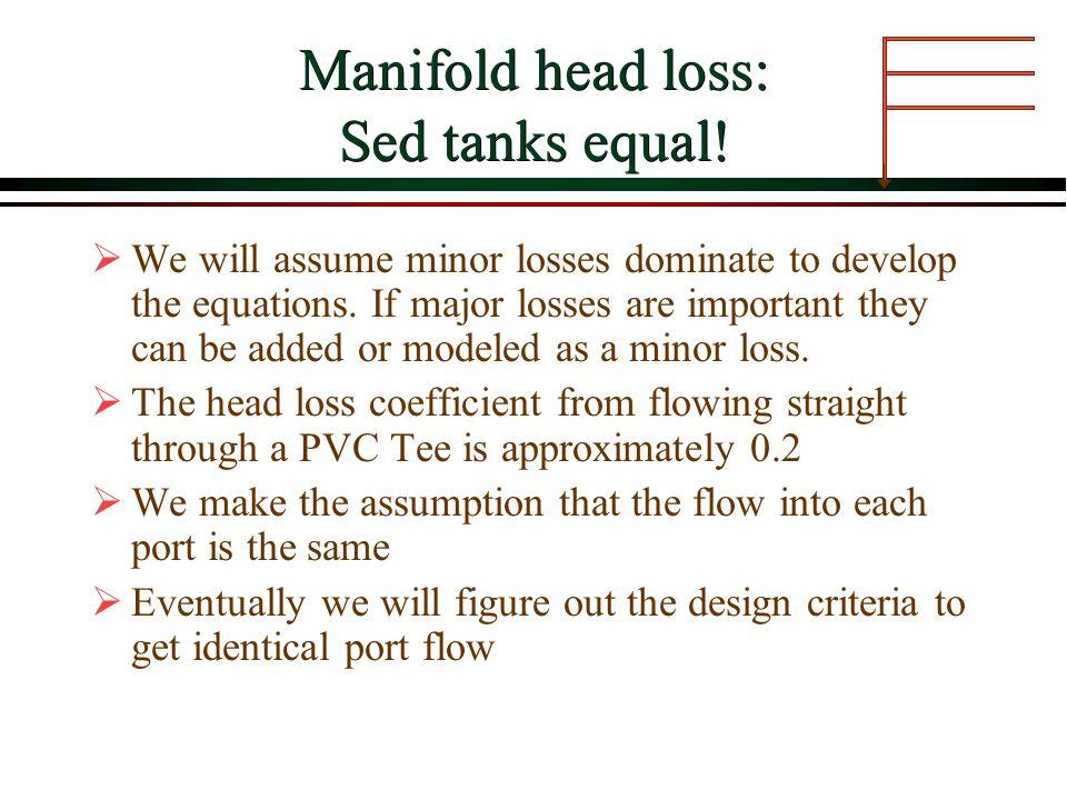 Manifold head loss: Sed tanks equal!