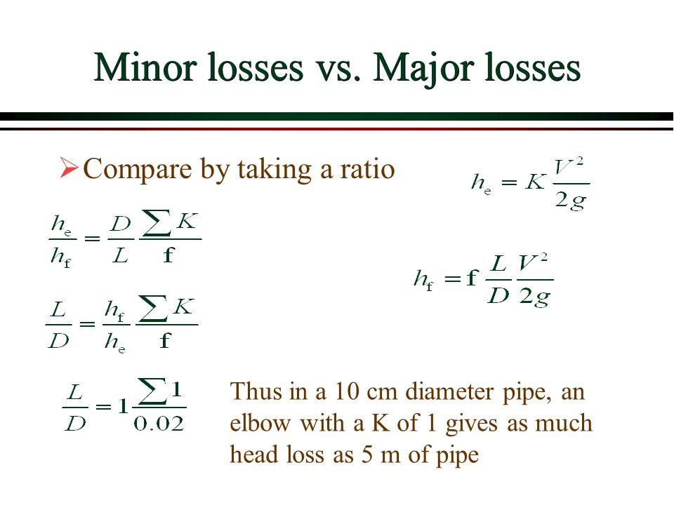 Minor losses vs. Major losses