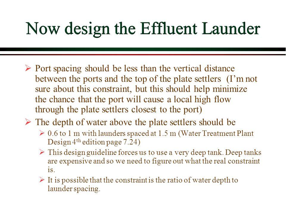 Now design the Effluent Launder