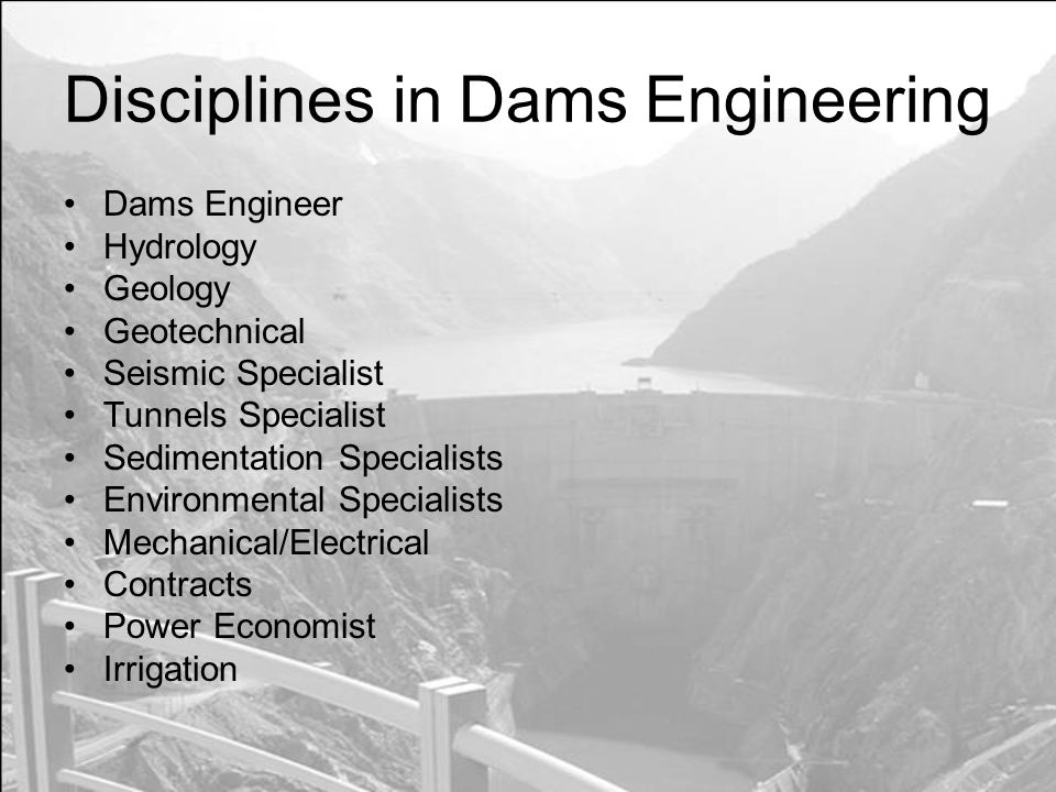 Disciplines in Dams Engineering