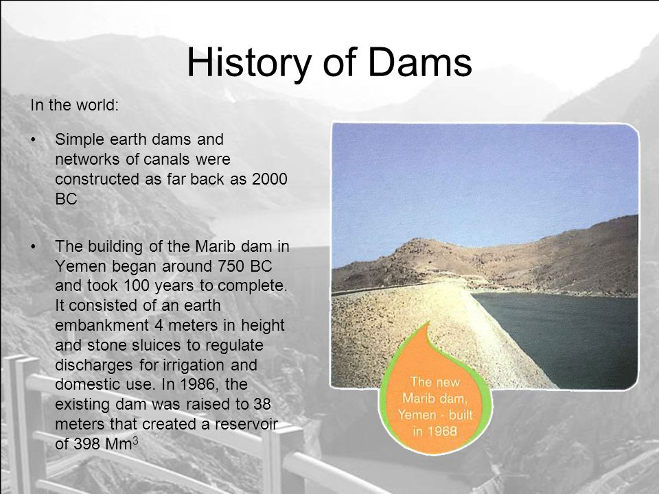 History of Dams In the world: