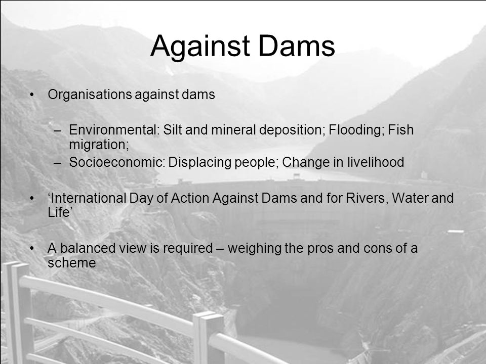 Against Dams Organisations against dams