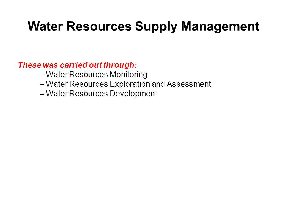 Water Resources Supply Management