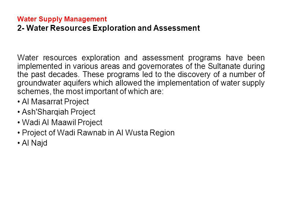 Water Supply Management 2- Water Resources Exploration and Assessment
