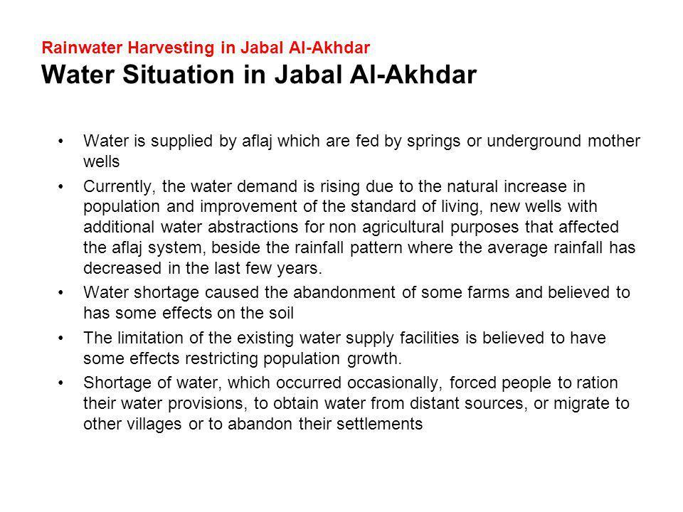 Rainwater Harvesting in Jabal Al-Akhdar Water Situation in Jabal Al-Akhdar