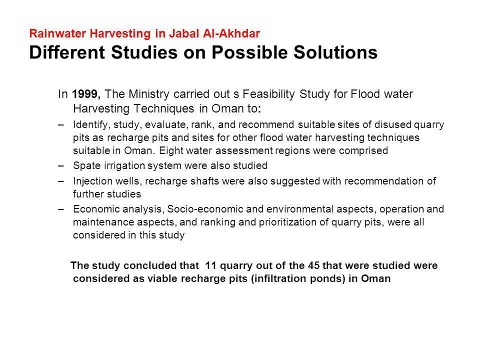 Rainwater Harvesting in Jabal Al-Akhdar Different Studies on Possible Solutions