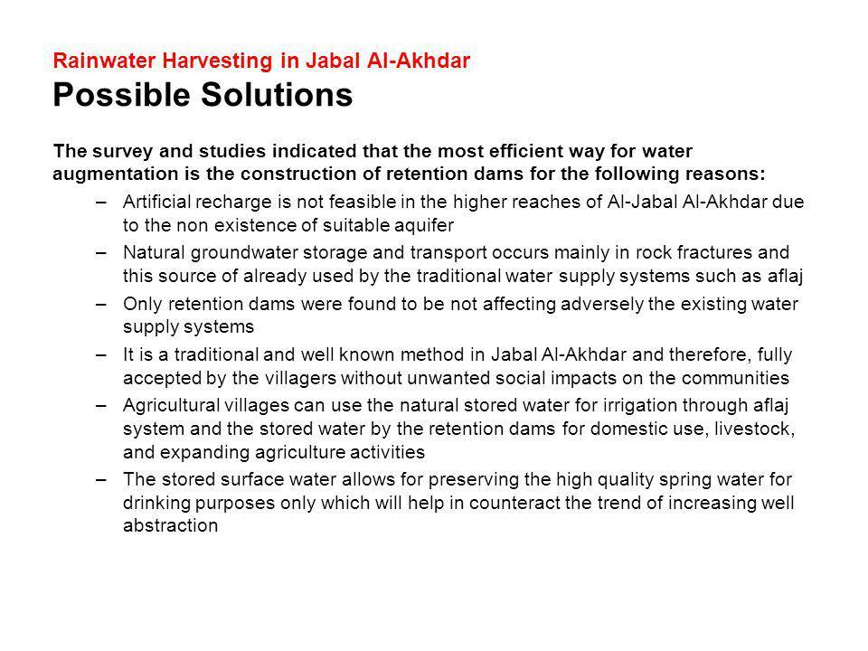 Rainwater Harvesting in Jabal Al-Akhdar Possible Solutions