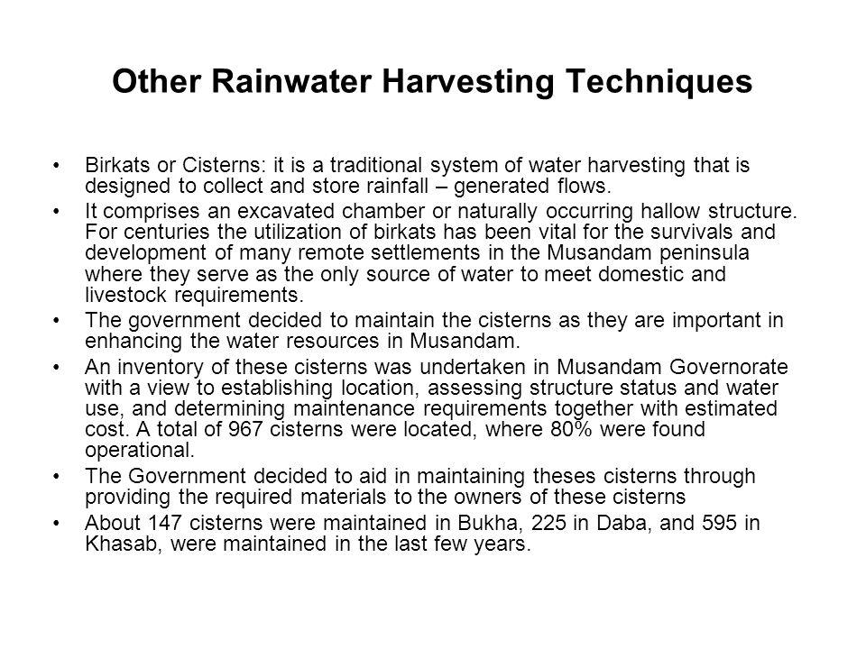 Other Rainwater Harvesting Techniques