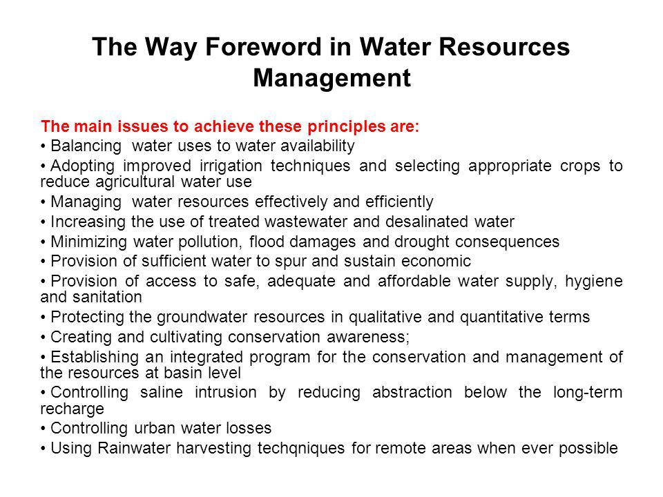 The Way Foreword in Water Resources Management