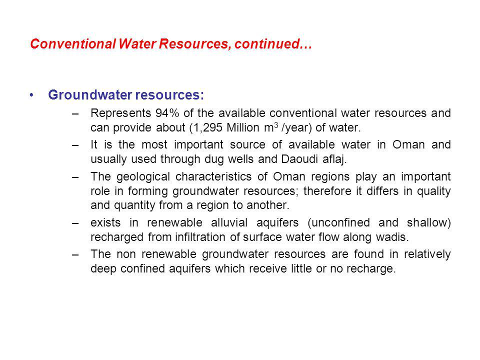 Conventional Water Resources, continued…