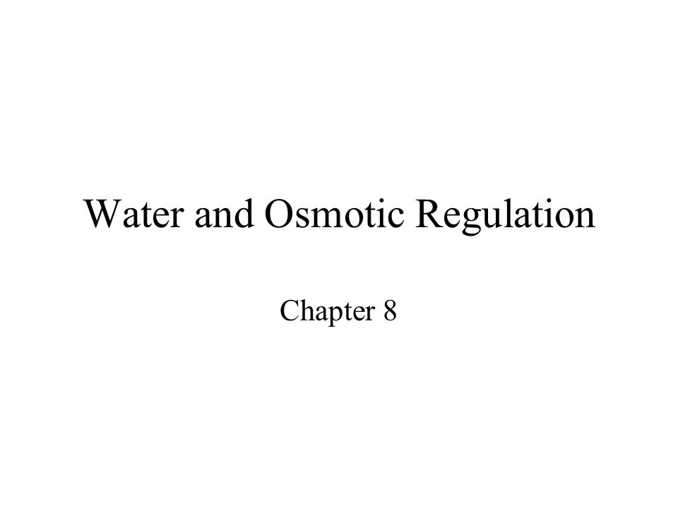 Water and Osmotic Regulation