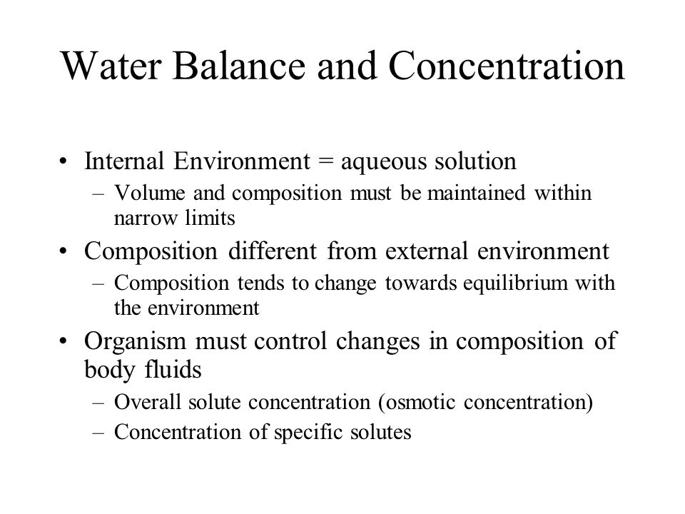 Water Balance and Concentration