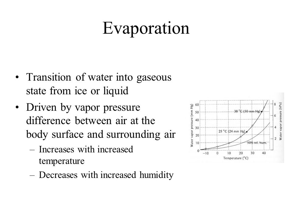 Evaporation Transition of water into gaseous state from ice or liquid